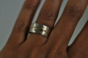 Image of Silver and gold textured ring