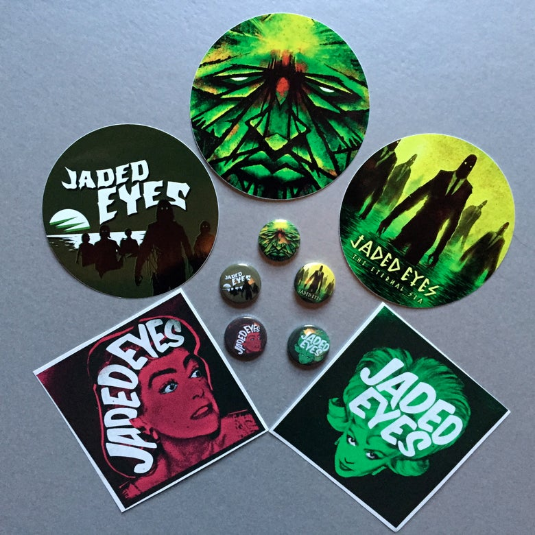 Image of 10 Piece Sticker + Badge Pack