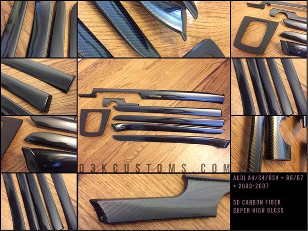 Image of Audi b6/b7 A4/S4/RS4 2002-2007 5D High Gloss Carbon Fiber Trim Kit