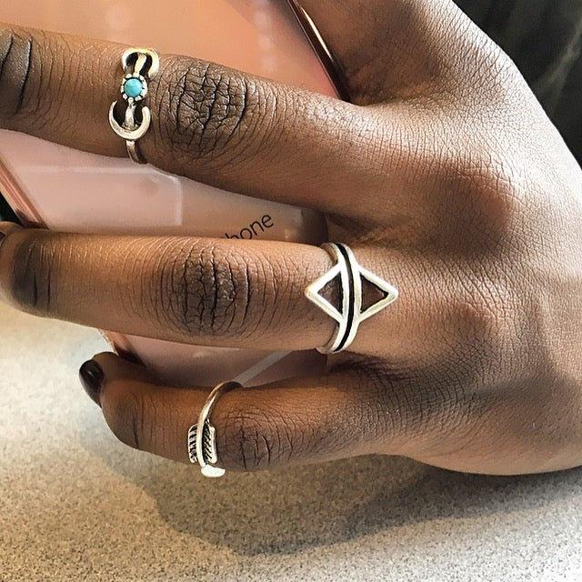 Image of Double Triangle Stack Ring Set