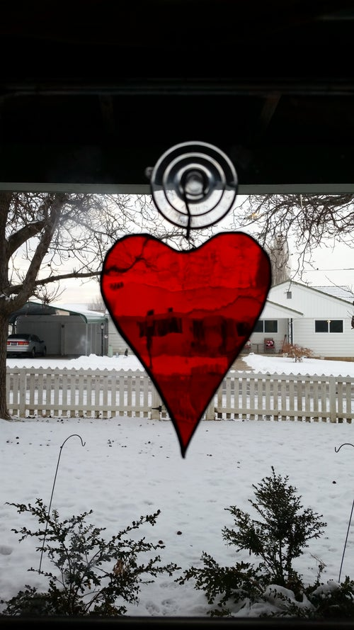Image of Single pane Heart-stained glass