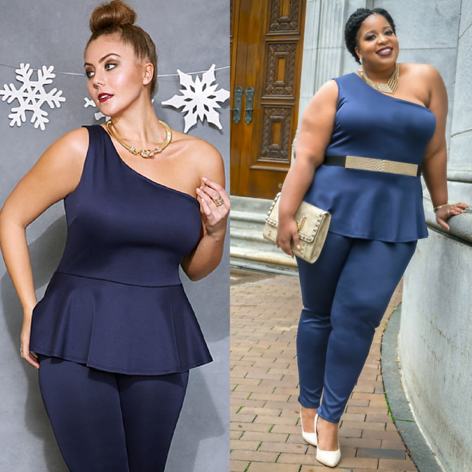 Image of Fashion to Figure Blue Peplum Jumpsuit