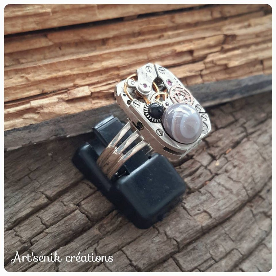 Image of Bague agate-onyx