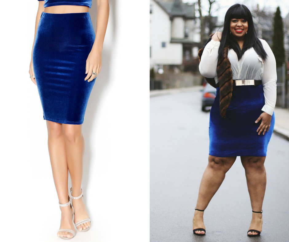Image of Blue Velour Pencil Skirt