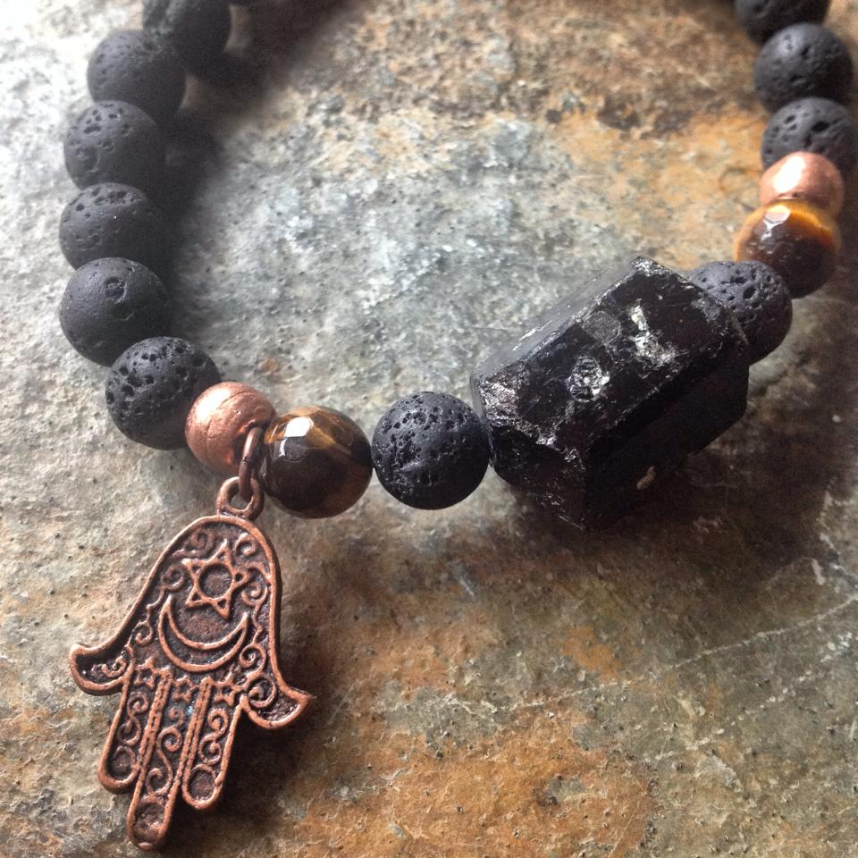 Image of  Protection and Grounding Raw Tourmaline, Volcanic Rock, Tiger Eye, Copper with Hamza Hand