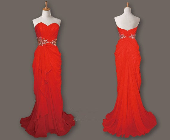 Charming Red Sweetheart Long Prom Dresses, Red Prom Dresses, Evening Gowns