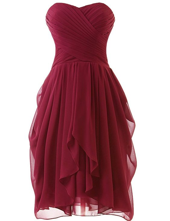 High Quality Handmade Short Burgundy Prom Dresses, Burgundy Bridesmaid Dresses
