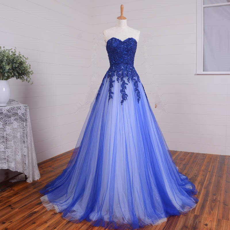 Glam Handmade Tulle Blue Prom Gown With Lace Applique