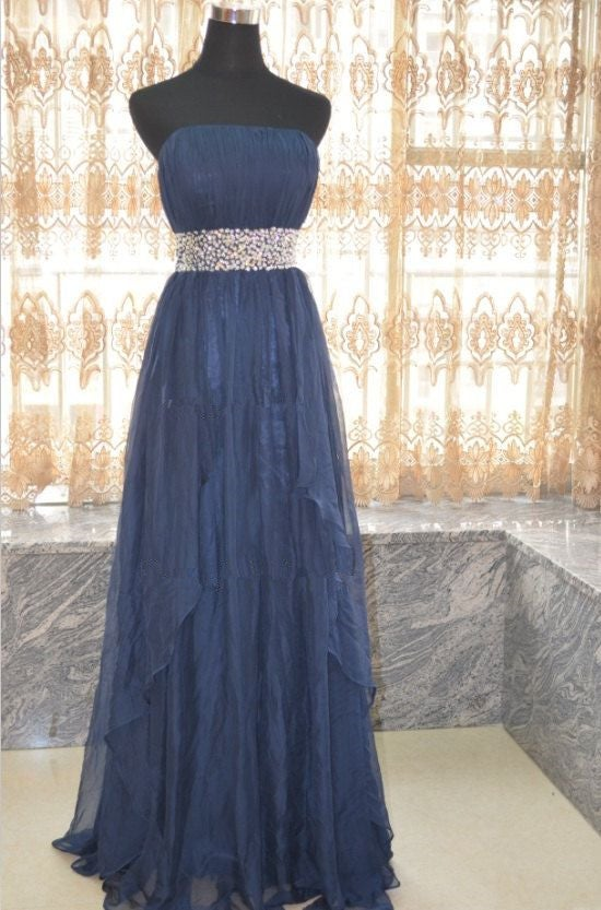 Charming Handmade Blue Long Prom Dresses with Beadings, Blue Prom Dresses, Evening Dresses