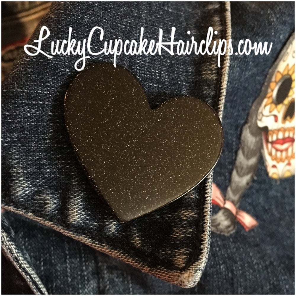 Image of Little black heart pin
