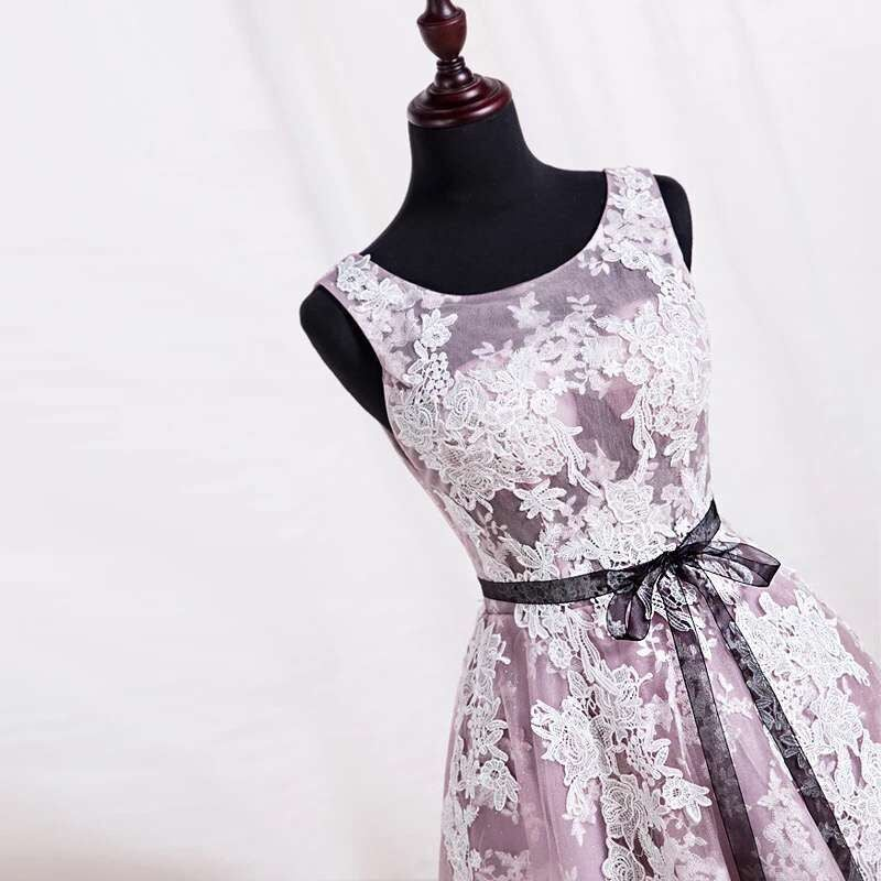 Beautiful Tea Length Tulle Prom Dress with Lace Applique, Prom Gowns, Formal Dresses