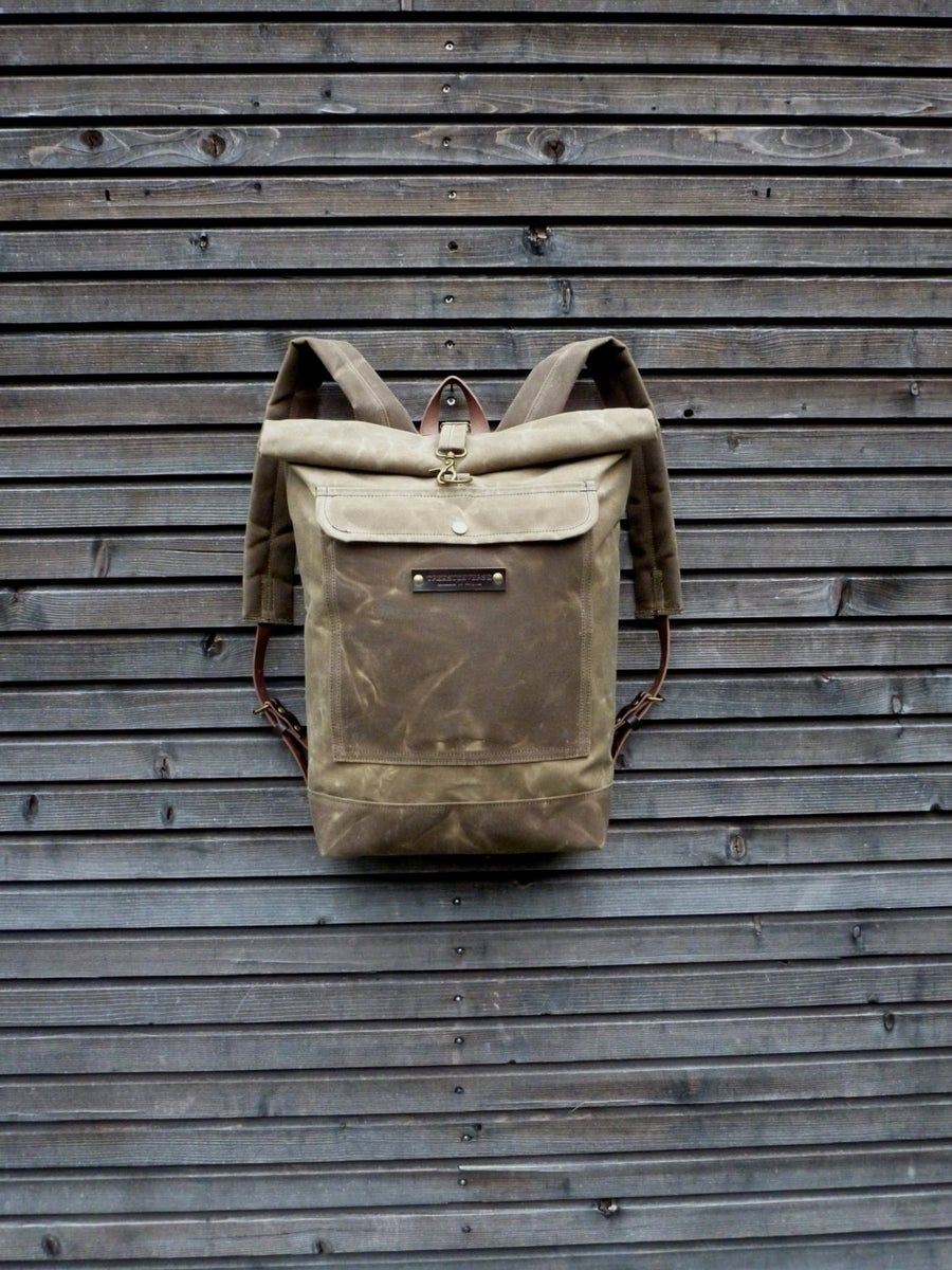 Image of Waxed canvas rucksack / waterproof backpack with roll to close top