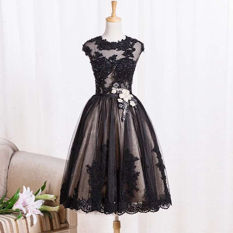 Cute Black Handmade Short Prom Dresses with Lace Applique, Black ...