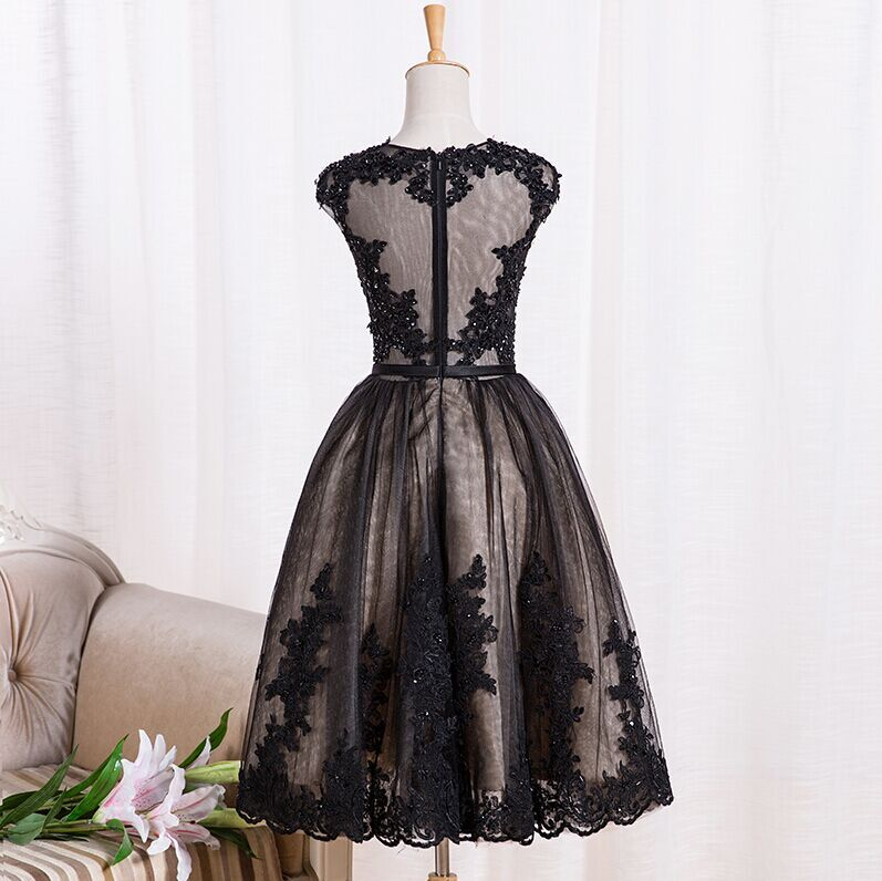Cute Black Handmade Short Prom Dresses with Lace Applique, Black Formal Dresses, Party Dresses