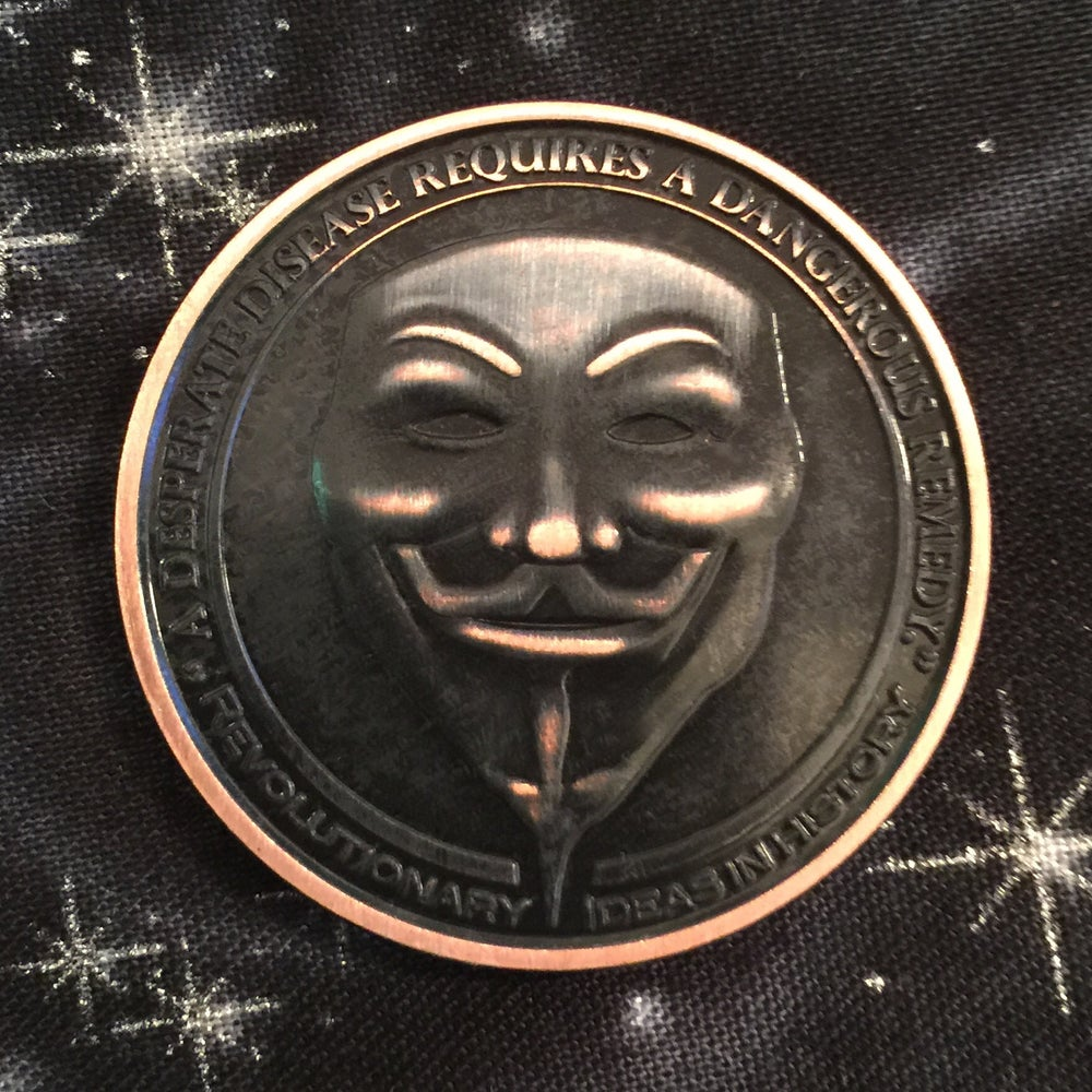 Image of Anonymous/Guy Fawkes 1oz Copper Challenge Coin
