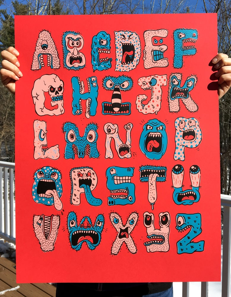 monster alphabet serigraph chris piascik
