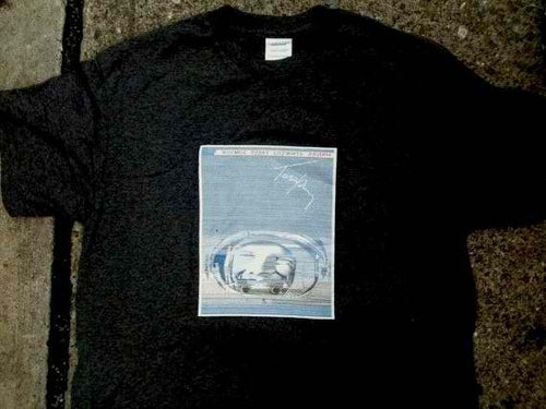 "Image of ""Space will serve human kind."", first sgot from outer space. TSHIRT/POSTER."