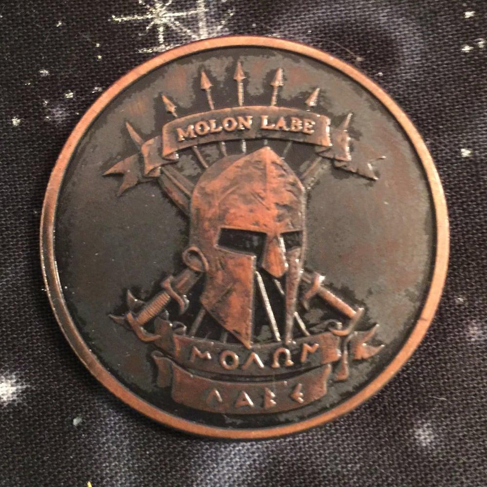 Image of Molon Labe 1oz Copper Challenge Coin