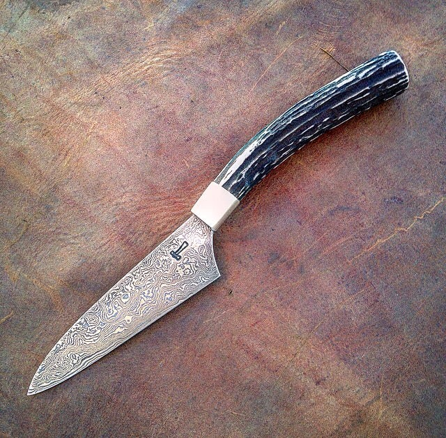 Image of Damascus steel paring knife