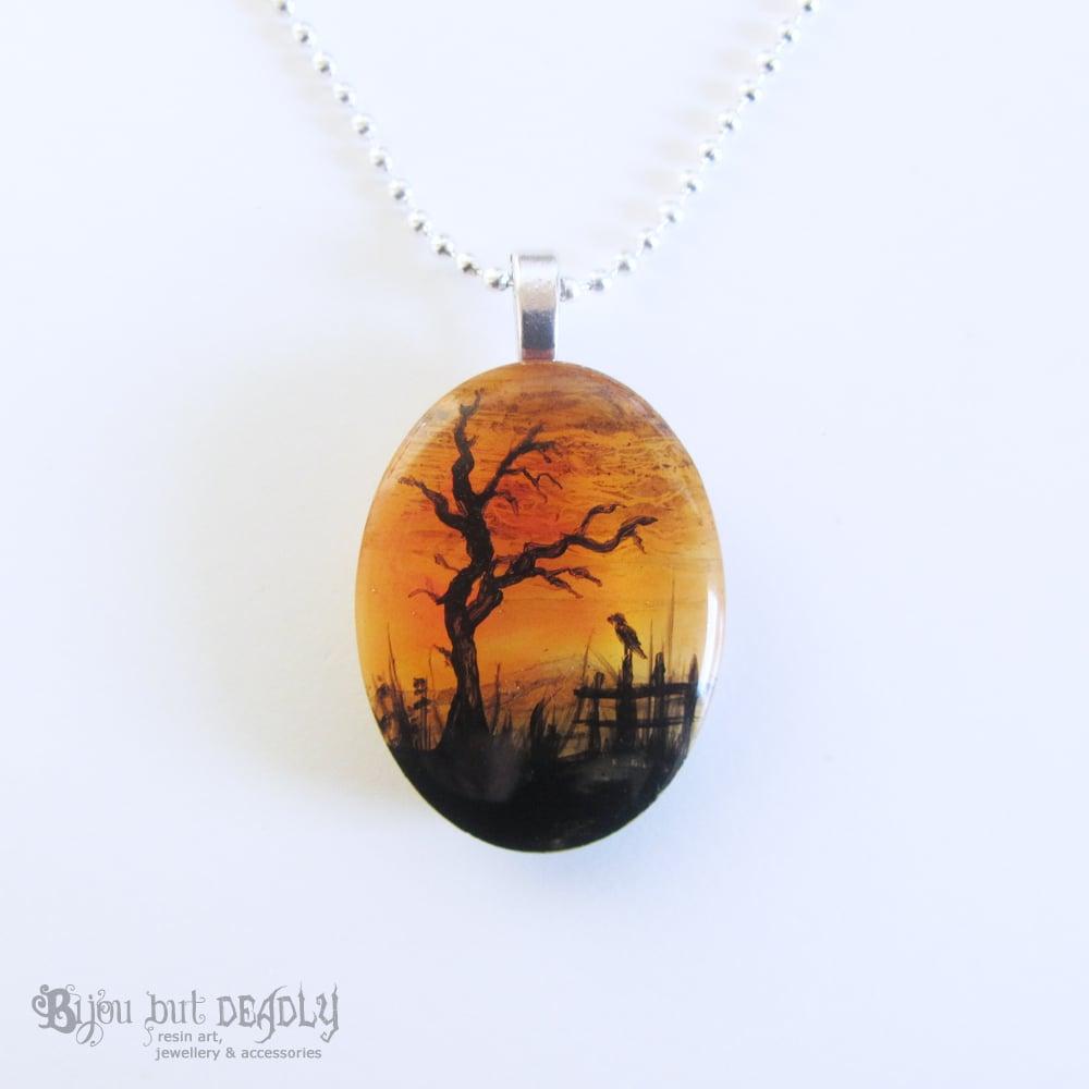 Spooky Tree Autumnal Resin Pendant