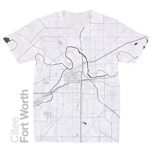 Image of Fort Worth TX map t-shirt