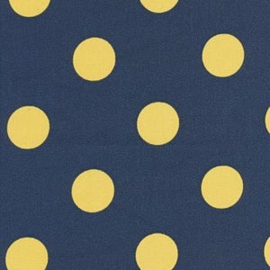 Image of FF Navy and Yellow Polka Dot Outdoor Fabric