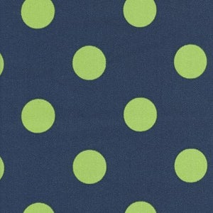 Image of FF Navy and Lime Polka Dot Outdoor Fabric