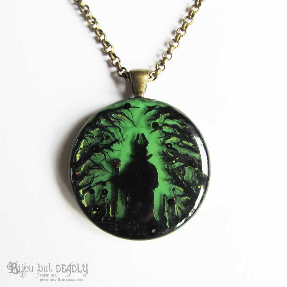 Maleficent in Forest Round Bronze Pendant