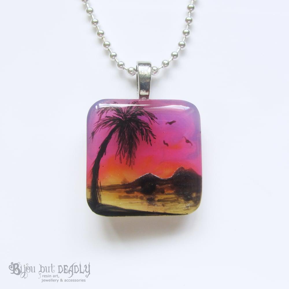 Tropical Sunset Resin Pendant