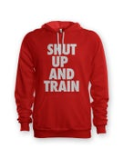 Image of Unisex Shut Up and Train Red/White Hoodie