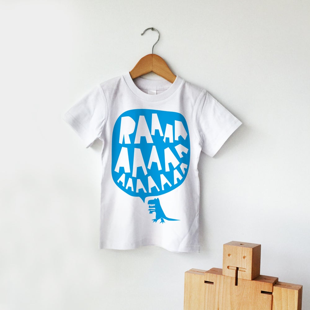 Image of RAAAAA Dinosaur T-shirt Blue on White