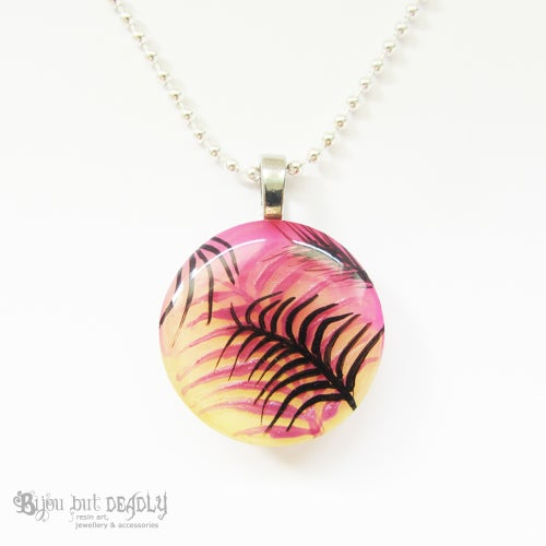 Image of Tropical Palm Astral Pink Resin Pendant