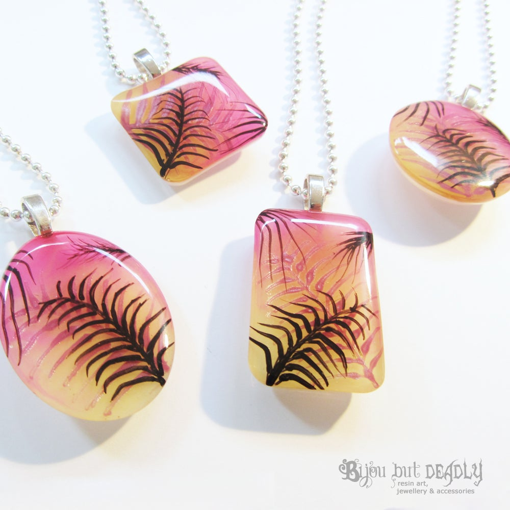 Tropical Palm Astral Pink Resin Pendant