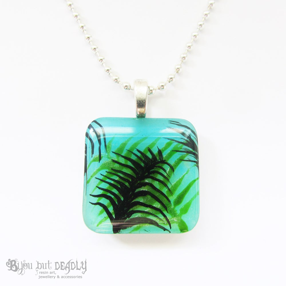 Tropical Palm Blue/Green Resin Pendant