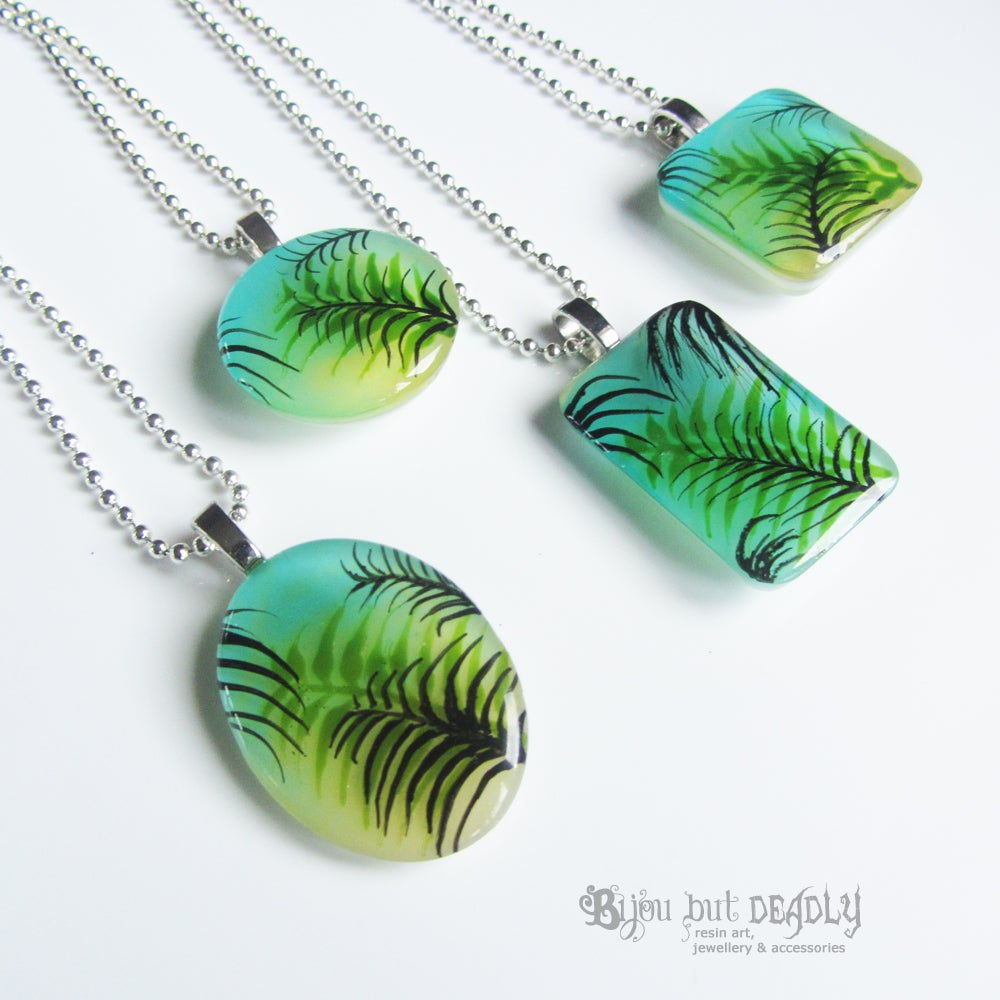 Tropical Palm Green/Yellow Resin Pendant