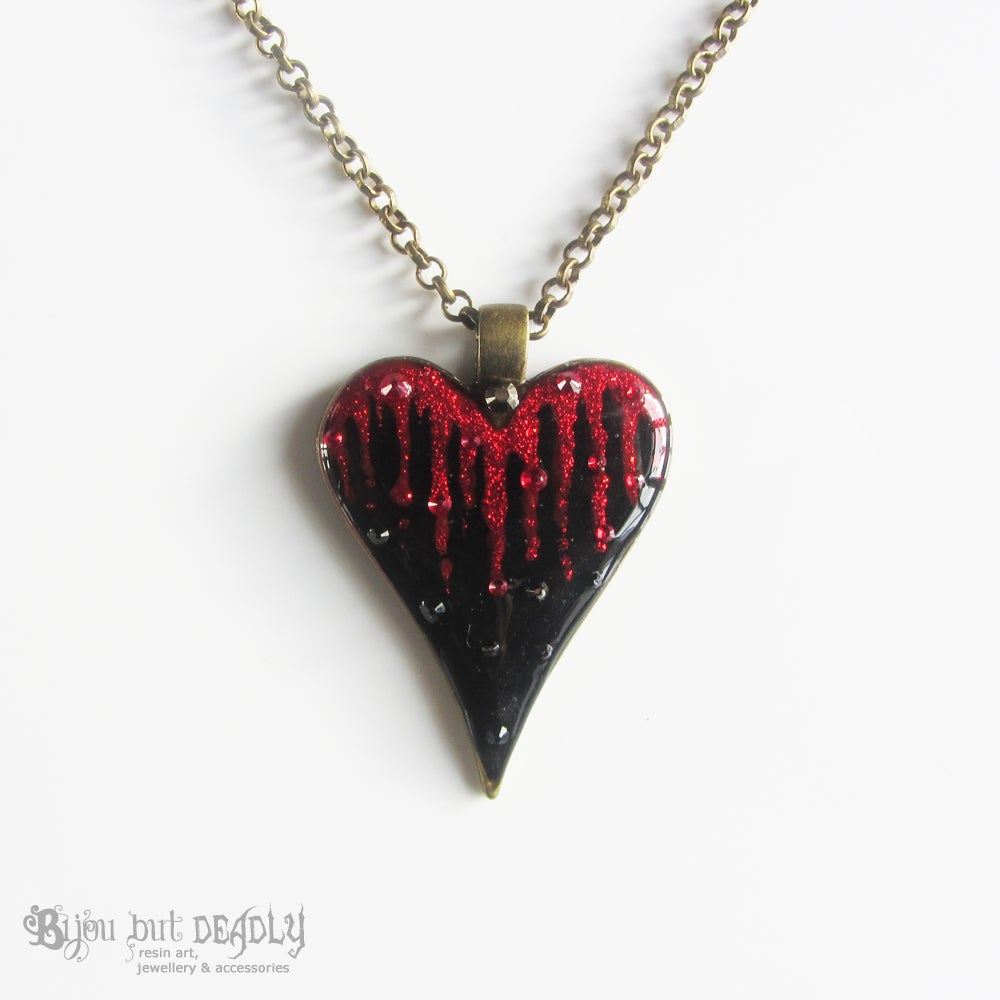 Bleeding Heart Glitter and Crystal Pendant