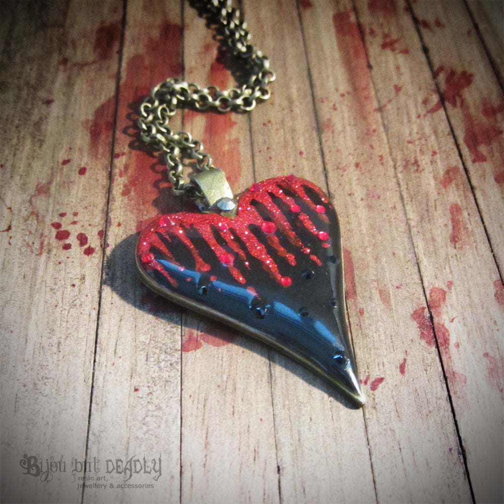 Image of Bleeding Black Heart Pendant