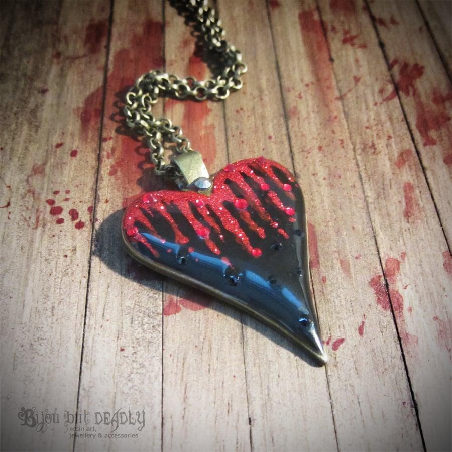 Image of Bleeding Black Heart Pendant