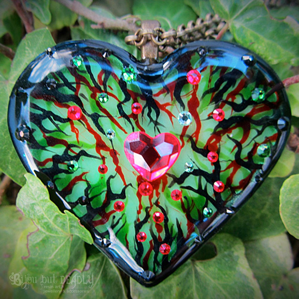 Image of Poison Ivy Resin Heart Pendant