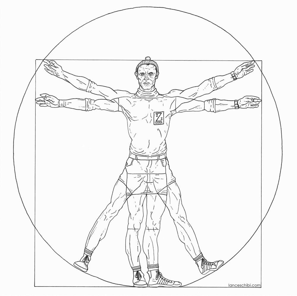 Image of VITRUVIAN KLAUS - LIFE AQUATIC Square Cut Sticker