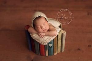 """Image of Woodsy Wonders """"Back to School"""" Vintage Book, Round Baby Basket"""""""