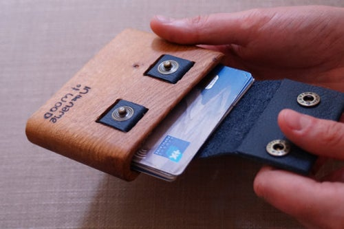 "Image of Wooden Wallet ""trou"""