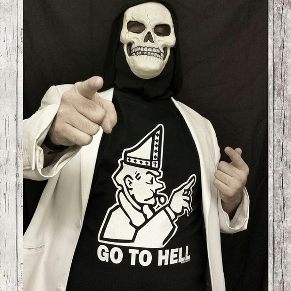 Image of GO TO HELL 'Monopoly Pope' shirt