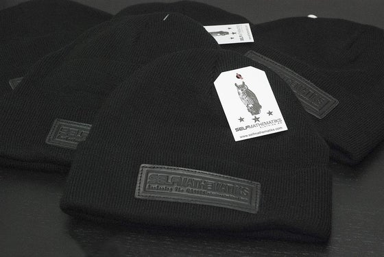 "Image of BLACK ON BLACK GENUINE LEATHER- ""KNIGHT RIDER"", THINKIN' CAP"" Skully/Beanie"