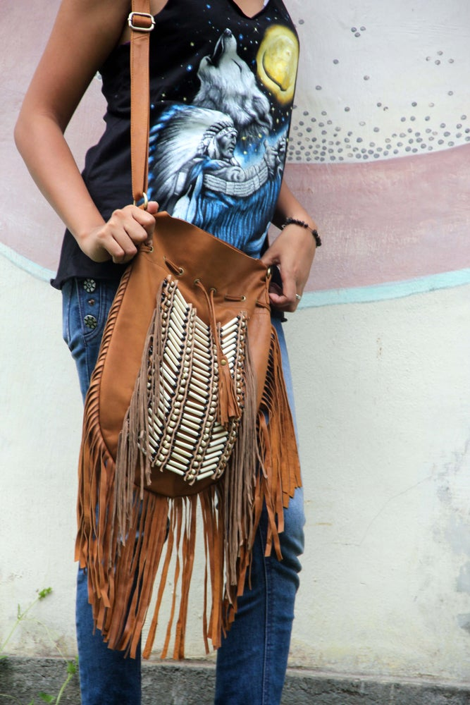 Image of Brown Indian Leather Bag, Large size