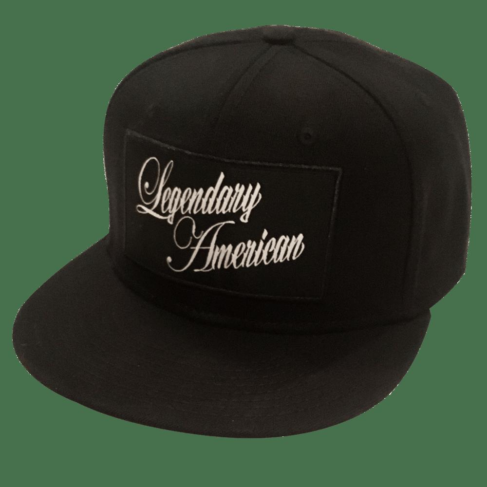 Image of Legendary American Script 3 patch flexfit hat