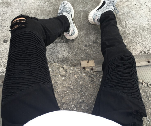 Image of Black Distressed Biker Jeans