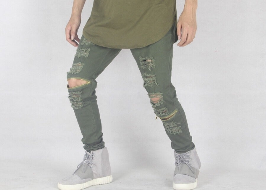Image of Khaki Distressed Jeans with zip