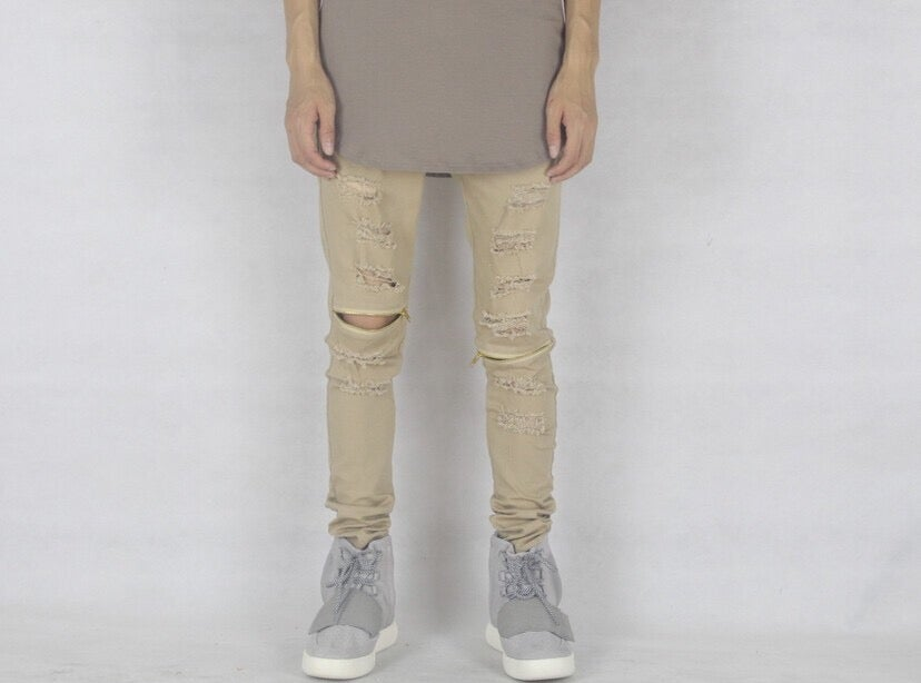 Image of Camel Distressed Jeans With Zips