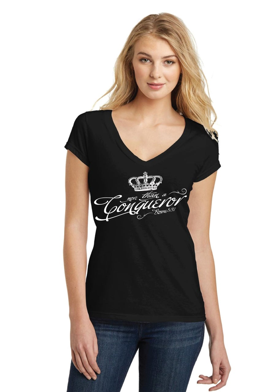 Image of Women's V Neck Conqueror T Shirt
